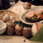 20347794 - 白バイ貝の旨煮、衣かつぎ、塩炙り銀杏、あん肝ポン酢、てまり寿司