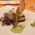 フレスコ - Jul, 2013 蒸し穴子と茄子のバルサミコ風味 甘長唐辛子のマリネとフォアグラ