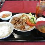 お好み焼き・鉄板焼き かわなか - 豚バラ焼き定食