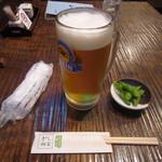 20392852 - 「生ビール」、お通しの「枝豆」