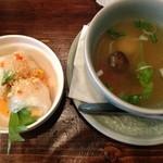 クルン・サイアム 六本木店 - セットの生春巻きとスープ