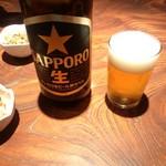 養老乃瀧 - 魚じるし養老乃瀧 円町店の大瓶ビール430円(12.08)