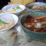 玉蘭 - カレーつけ麺&極辛カレーつけ麺。写真には写っていませんが、これに小ライスが付きます。