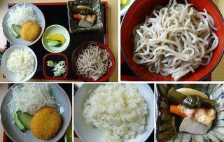 はんば亭 - 天空の里定食。下栗コロッケ、こきびご飯、椀蕎麦。そば処はんば亭(長野県飯田市)食彩賓館撮影