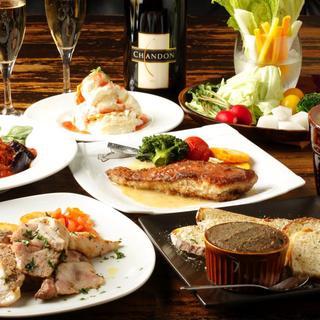 季節で変わる旬のコース料理。フリードリンクも付いてお一人様3500円〜。