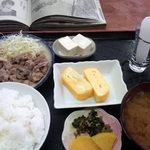 めしる - しょうが焼きと玉子焼きの日替わり定食500円