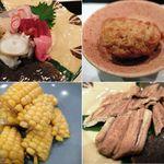 旬彩 菜たねや - 料理写真:お造り・泡醤油・トウモロコシ・あなご。