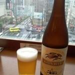 楽天地スパ 展望レストラン - 外を見ながらビール