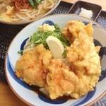銀三 - かしわぶっかけ冷!  麺もかしわも美味し〜!!