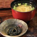 一軒目 - 沖縄そば(小)手作り海苔の佃煮