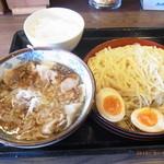 伝丸 - w肉つけ麺の味玉トッピング