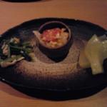 四季酒菜 風土 - お通し 冬瓜の煮たもの トマトと玉子の炒め物 じゃこと小松菜のお浸し