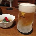 京ダイニング 上七軒 - お通し(400円)と生ビール(490円)