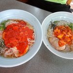 芳華 - 冷麺大と中の大きさの比較