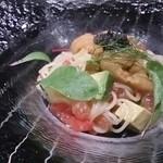 鉄板焼レストラン オーク - 雲丹とアボガト、カッペリーニ、キャビア添えの冷製パスタ