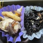 おこわ米八 - きのこのおひたしとひじきの煮物アップ