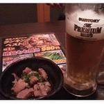 地鶏処 本丸 - ビールはプレミアムモルツ