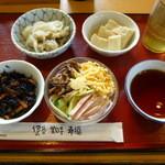 大津坂本食堂 - 料理写真:素麺、鯵の南蛮漬け、高野豆腐、五目ひじき