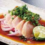 鳥蔵 黒船 - 薩摩地どりタタキ630円 特製ポン酢醤油でどうぞ