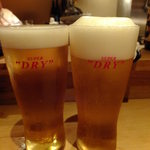 すし処 次郎丸 - スーパードライ:600円!泡が盛り上がってる!!