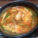 明月館 上本町本店 - 焼肉セットのスープ
