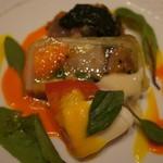 20555460 - 熊本野菜のアスピックジュレと、カルパッチョのモロヘイヤソース。