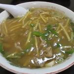 会龍 - 肉絲かけ麺 ちょっと味が濃いです。