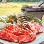 モンヴェール農山 レストランRALGE - 人気ナンバー1!!!焼肉セットA 税別1,380円♪(バラ・肩ロース・手作りウィンナー・野菜・ごはん)ご飯おかわり自由です(*^^*)