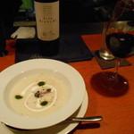 とよ福 - ワインにスープを見ると、フランス料理屋か? とも思える