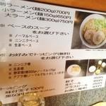 麺屋 剣 - カウンターに貼ってある剣のメニュー。J系らしく無料トッピングもあります。
