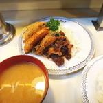 洋食ブルドック - ヤサイフライと牛ニンニク焼き定食