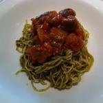 イタリア料理 カンパニュラ - 茄子とセロリ玉葱トマト煮込みジェノベーゼ手打ちタリオリーニ