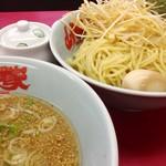 山岡家 - 料理写真:醤油つけ麺(酢抜き アブラ多め)味付ネギ 味玉 2013年8月