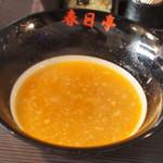春日亭  - 鳥豚油そば(¥630・並盛)スープ割り