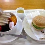 なかぱんカフェ - クリームあんみつハーフ&最中アイス(抹茶)!(2013,08/10)