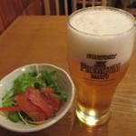 魚金 - 520円『生ビール (ザ・プレミアムモルツ)』2013年8月吉日