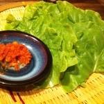 20657048 - 食べ放題のサンチュは豆味噌付き