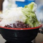 ともえ庵  - 抹茶と自家製練乳とあずきの氷(500円)