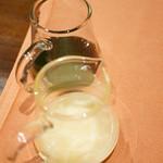 厳選洋食さくらい - 別添えの抹茶蜜と練乳。