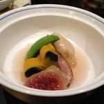 お宿 木の葉 - 煮物☆無花果、合鴨ワイン煮、冷やし冬瓜クリーム漬け、南京、スナップエンドウ