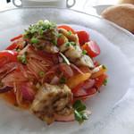 P's GARDEN - 焼き茄子とチェリートマトの冷製パスタ、パン、スープ