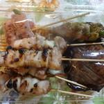串くら かつくら - 枝豆つくね串タレ、加茂なす、アスパラ、ももにんにく塩