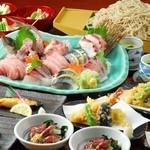 寿毛平 - 料理写真:3000円のコースから、鮮魚5点盛り合わせが付いた7品!しかも〆の舟盛り蕎麦は食べ放題!(写真はイメージになります))