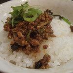 かっちゃんラーメンSP - ライスに担々麺の肉味噌をON!