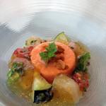 ラグナヴェール プレミア - パプリカのババロア                             夏野菜と旬の魚介を彩ったジュレ寄せ