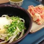 中井麺宿 - 冷たいぶっかけうどんと紅ショウガの天ぷら