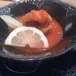 懐石カフェ 蛙吉 - 鱧のトマトスープ