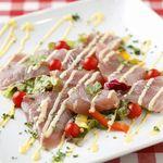 マルキNOZA - 本日のお魚のカルパッチョ。自家製ドレッシングとマヨネーズはフランス仕込みの本格派!