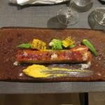 レ マリアージュ ドゥ ガク - 穴子と夏野菜のミルフィーユ、フルーツ人参のピュレ