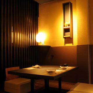 プライベート感覚で利用できる、ゆったりとした個室